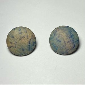 Vintage Round Fabric Clip On Earrings